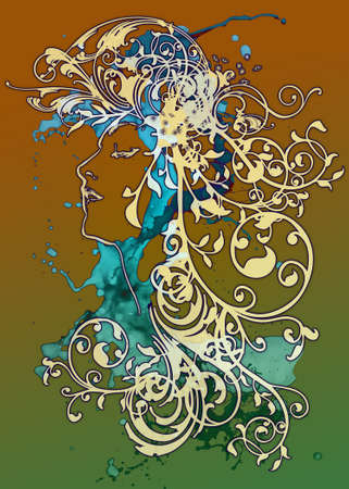 peppy: An ornamental illusttration in the art nouveau style