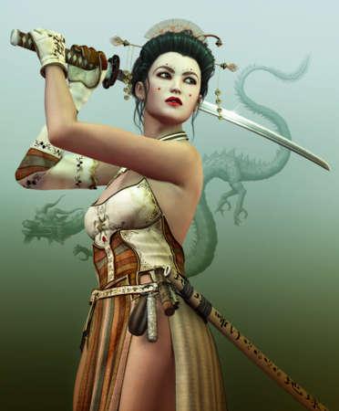 een jonge Aziatische vrouw met samurai zwaard