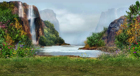 fantasy landscape: a magical landscape with waterfalls, flowers and trees