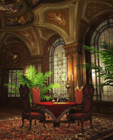 un lujoso comedor, de estilo barroco photo