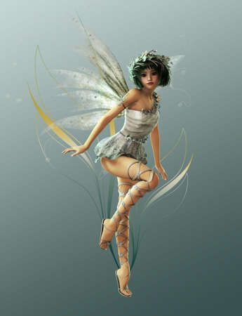 fantasy butterfly: A charming fairy with wreath and wings