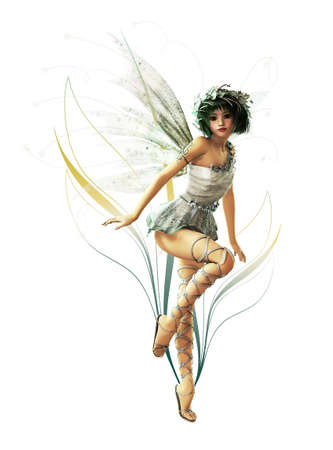 fantasy fairy: A charming fairy with wreath and wings