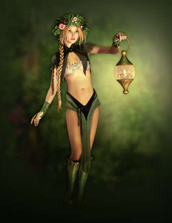 pixie: a cute forest fairy with a lantern in her hand