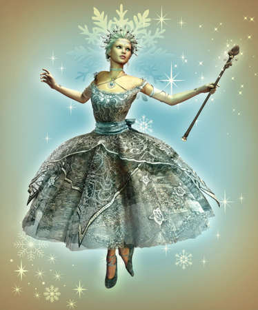 fairytale: a dancing ice princess with ball gown and magic wand