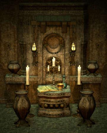 pentacle: una stanza con l'altare in stile fantasy