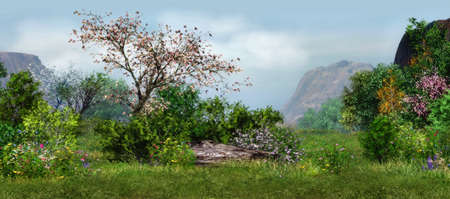 a magical landscape with cherry tree, flowers and trees Standard-Bild