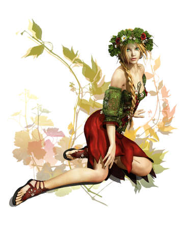 a fairylike girl that represented the summertime Stock Photo - 13896939