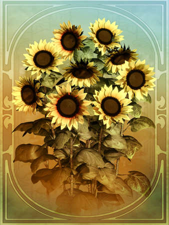 midday: a decorative illustration of sunflowers in vintage style