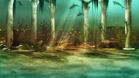 pez pecera: un paisaje con ruinas imaginarias bajo el agua hundidos