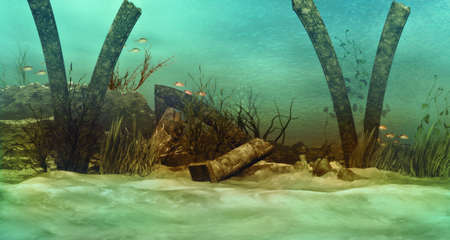 an imaginary underwater scenery with sunken ruins photo