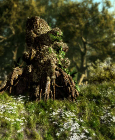 A gnarled tree stump with mossy vegetation Stock Photo - 13897026