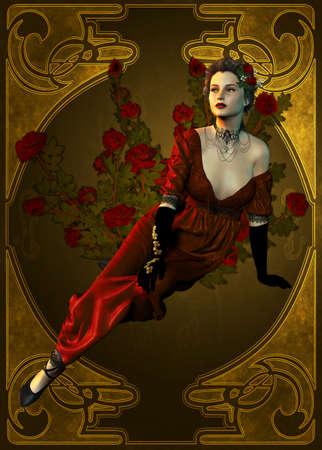 stile liberty: illustrazione di una giovane donna che rappresenta la sera