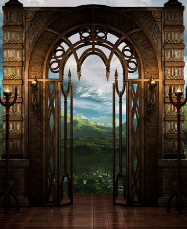 archway: A Fantasy-Art style place. Stock Photo