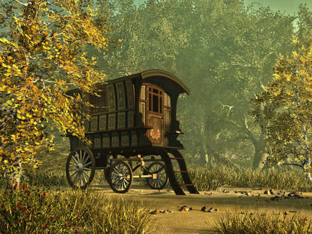 een kleurrijk beschilderd woonwagen in een landelijke omgeving