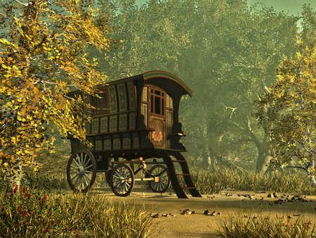 zigeunerin: ein bunt bemalten Wohnwagen in einer l�ndlichen Umgebung