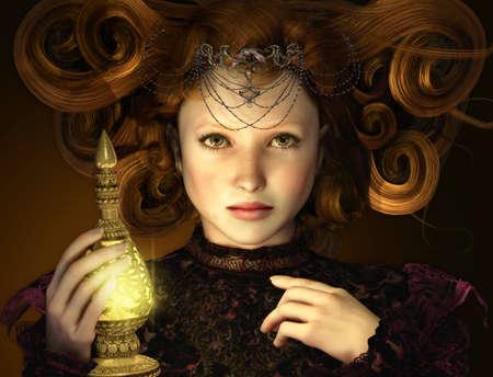 lampara magica: Retrato de una joven con una botella que brilla intensamente en la mano