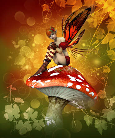 a little fairy is sitting on a fly agaric photo
