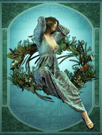 stile liberty: illustrazione di una giovane donna che rappresenta il risveglio