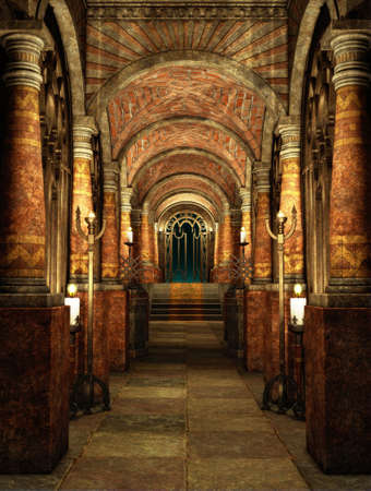light columns: an ancient passage with stairs and gateway Stock Photo