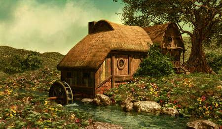 시골집: 샤이어에있는 꽃의 초원에서 물 밀 스톡 사진