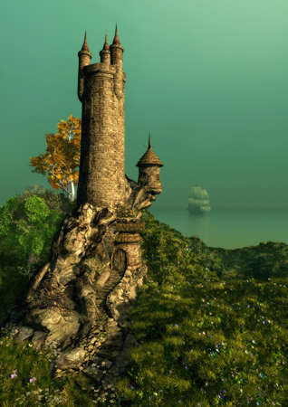 fantasy castle: on a hill with a flower meadow stands the tower of a magician