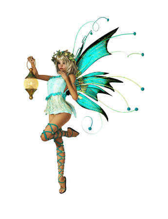 pixie: A little Elf with Wings, Wreath and Lantern