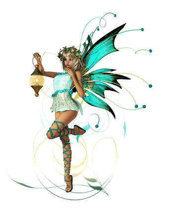 cute fairy: A little Elf with Wings, Wreath and Lantern