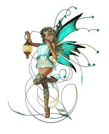 fairyland: A little Elf with Wings, Wreath and Lantern