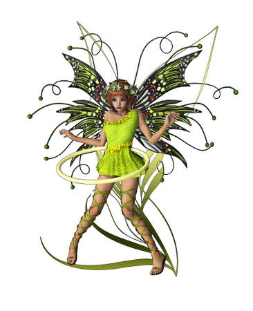 pixie: A cute fairy with wings, wreath and hula-hoop
