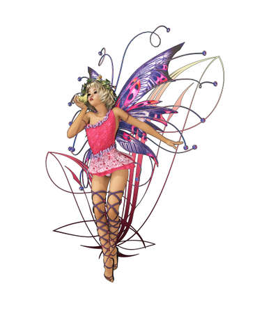pixie: A charming fairy with wings, wreath and a frog prince