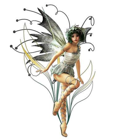 タイの花輪と翼を持つ魅力的な妖精