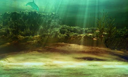 seaweed: un paisaje submarino con peces y delfines