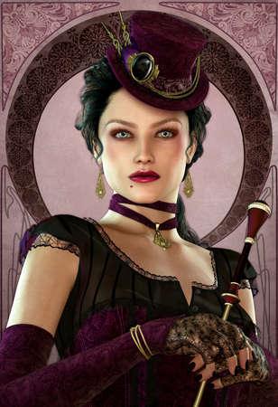 samhain: una misteriosa dama en el estilo de la vendimia