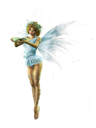 fairy wings: A charming fairy with wreath and wings