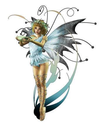 pixie: A charming fairy with wreath and wings
