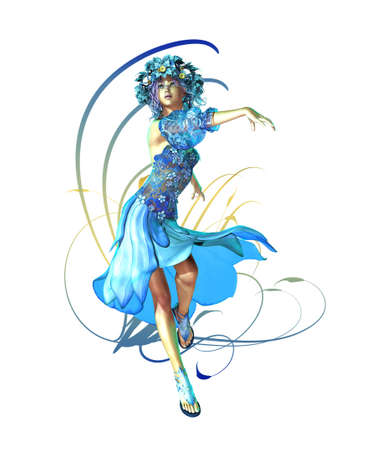 represented: a fairylike girl that represented the wintertime Stock Photo