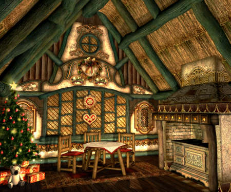 in a small hut on Christmas Eve Stock Photo - 13897180