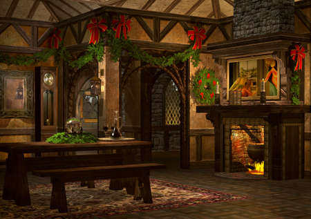 festively: a festively decorated bar in the advent season