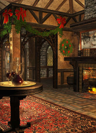 christmas fireplace: a festively decorated room in the advent season Stock Photo