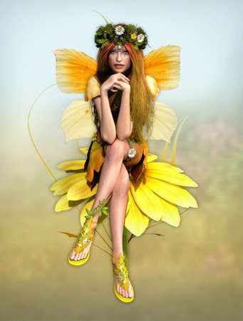 a cute fairy in yellow dress is sits on a daisy photo