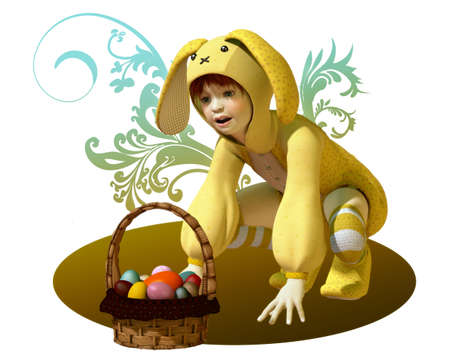 a child in a bunny dress and a basket with easter eggs photo