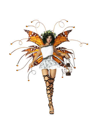 A graceful fairy with wings, wreath and lantern photo