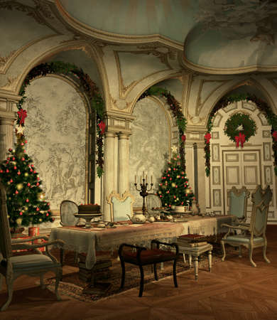 a festively decorated hall on christmas eve Stock Photo