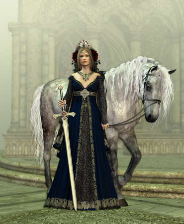 A young woman in medieval dress and a white horse photo