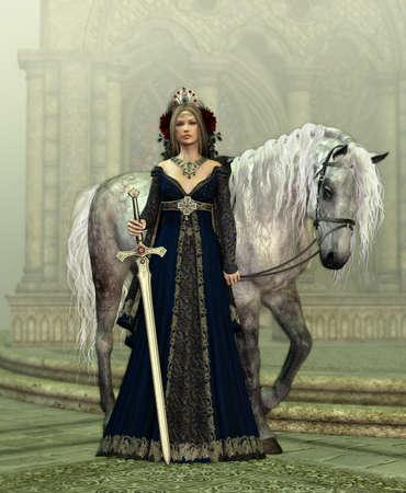 abito medievale: Una giovane donna in abito medievale e un cavallo bianco Archivio Fotografico