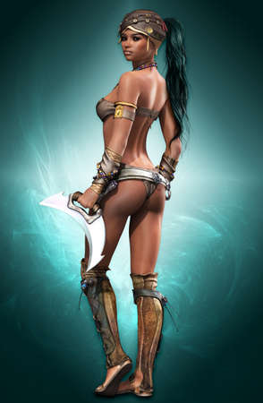 ancient warrior: portrait of a female Amazon warrior in fantasy style Stock Photo