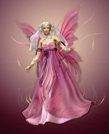 fairyland: a magical fairy in a pink dress