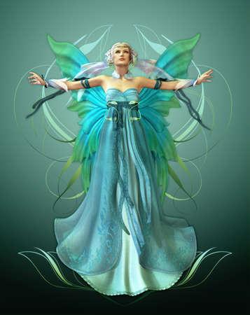 femme papillon: une fée magique dans une robe turquoise