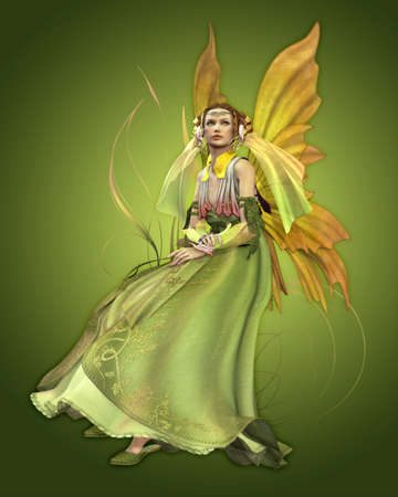 a magical fairy in a green dress