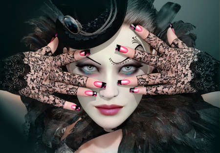 nails art: Portrait of a young woman with silk hat Stock Photo